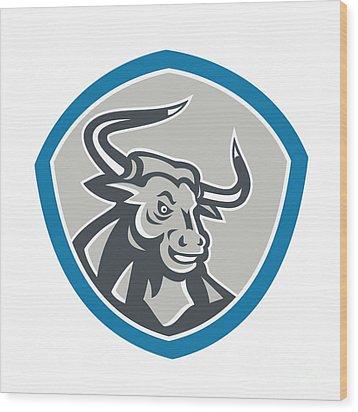 Angry Texas Longhorn Bull Shield Wood Print by Aloysius Patrimonio