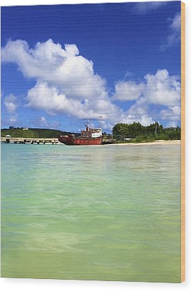 Anguilla Mr. Teds Boat Wood Print by Jennifer Lamanca Kaufman