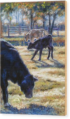 Angus Calves Out With Dad Wood Print by Denise Horne-Kaplan
