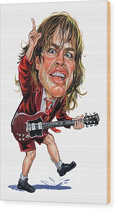 Angus Young Wood Print by Art