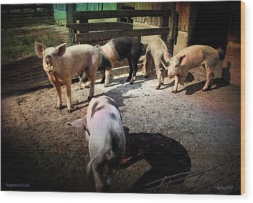 Angustown Piggies Wood Print by Cynthia Lassiter