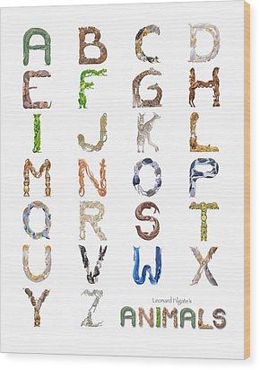 Animal Alphabet Wood Print by Leonard Filgate