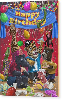 Animal Birthday Party Wood Print by Martin Davey