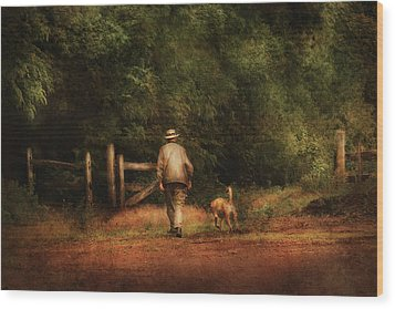 Animal - Dog - A Man And His Best Friend Wood Print by Mike Savad