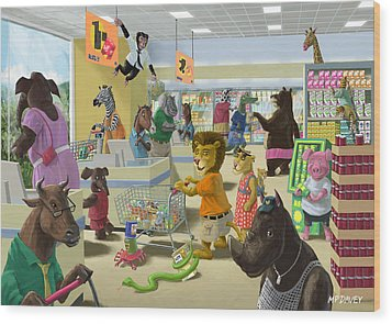 Animal Supermarket Wood Print by Martin Davey