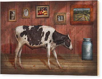 Animal - The Cow Wood Print by Mike Savad