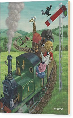 Animal Train Journey Wood Print by Martin Davey
