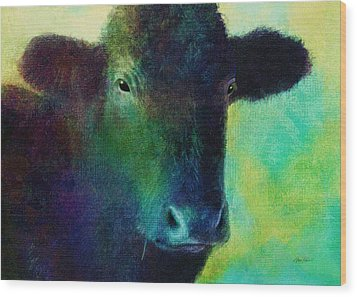 animals - cows- Black Cow Wood Print by Ann Powell