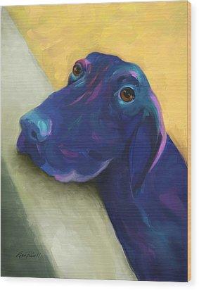 Animals Dogs Labrador Retriever Begging Wood Print by Ann Powell