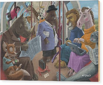 Animals On A Tube Train Subway Commute To Work Wood Print by Martin Davey