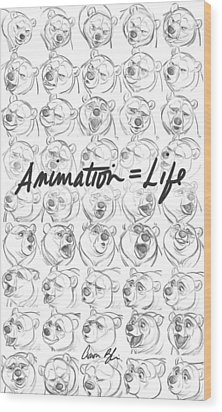 Wood Print featuring the digital art Animation  Life by Aaron Blaise