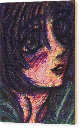 Anime Girl Wood Print by Rachel Scott