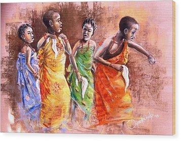 Wood Print featuring the painting Ankara Manifest by Oyoroko Ken ochuko
