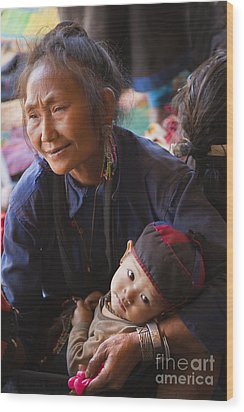 Ann Tribal Grandmother - Kengtung Burma Wood Print by Craig Lovell