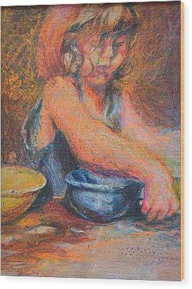 Anna And Mixing Bowls Wood Print by Nancy Mauerman