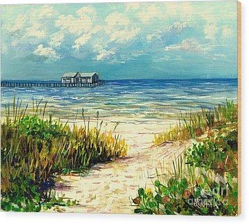 Anna Maria Island Pier Wood Print by Lou Ann Bagnall