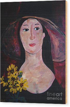 Wood Print featuring the painting Anna by Reina Resto