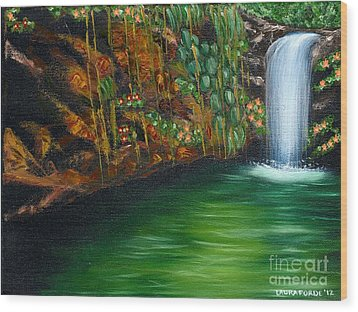 Annadale Waterfall Wood Print