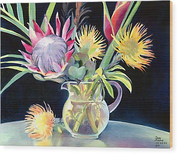 Anna's Protea Flowers Transparent Wood Print by Don Jusko