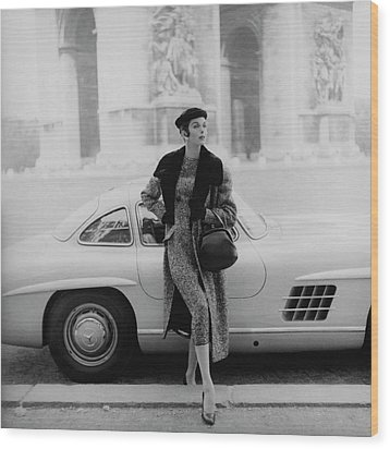 Anne St. Marie By A Mercedes-benz Car Wood Print by Henry Clarke