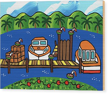 Annie's Dock - Cedar Key Wood Print