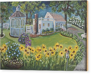 Wood Print featuring the painting Annie's Summer Cottage by Rita Brown
