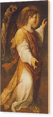 Announcing Angel Wood Print by Annibale Carracci