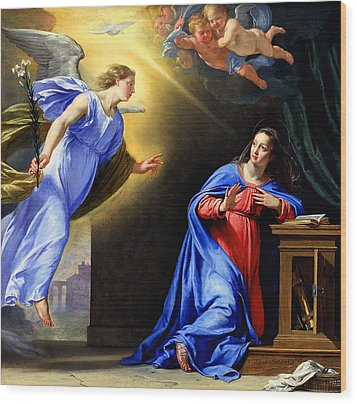 Annunciation Wood Print by Philippe de Champaigne