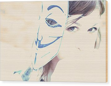 Anonymous Against Acta Wood Print by Beatrice Murch