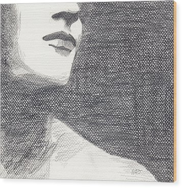 Wood Print featuring the drawing Anonymous Crop by Michele Engling