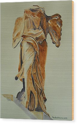 Another Perspective Of The Winged Lady Of Samothrace  Wood Print by Geeta Biswas