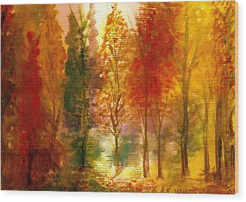 Another View Of Autumn Hideaway Wood Print by Anne-Elizabeth Whiteway