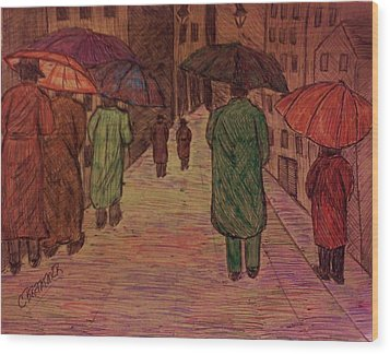 Another Walk In The Rain Wood Print by Christy Saunders Church