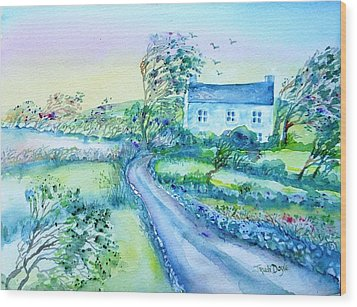 Another Windy Day On Cleare Island Ireland   Wood Print by Trudi Doyle