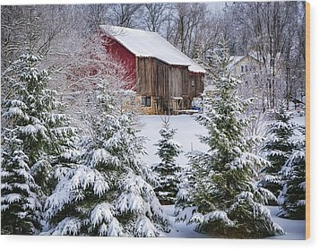 Another Wintry Barn Wood Print by Joan Carroll