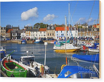Anstruther Harbour Wood Print