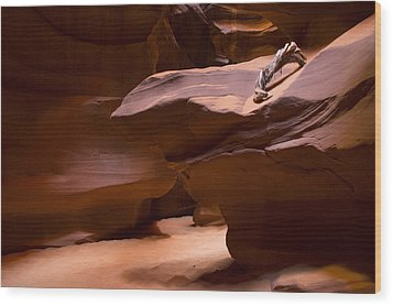 Antelope Canyon Hike Wood Print by Michael J Bauer