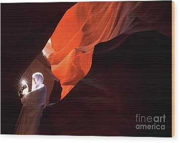 Antelope Canyon Keeper Of The Light Wood Print by Bob Christopher