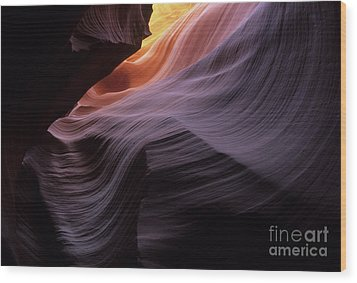 Antelope Canyon Movement In Stone Wood Print by Bob Christopher