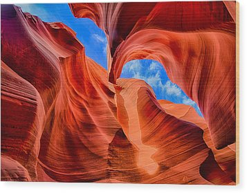 Antelope Canyon Walls Wood Print by Greg Norrell