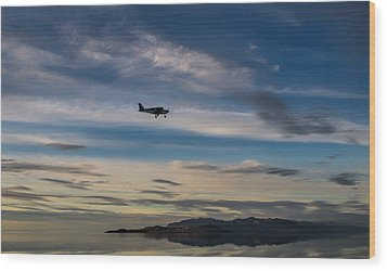 Wood Print featuring the photograph Antelope Island - Lone Airplane by Ely Arsha