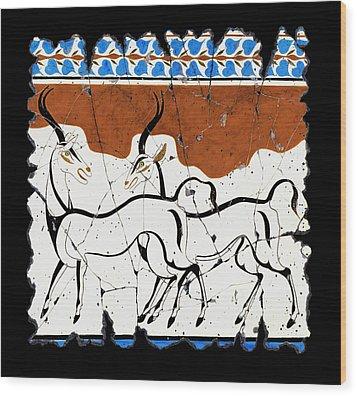 Antelope Of Akrotiri Wood Print by Steve Bogdanoff