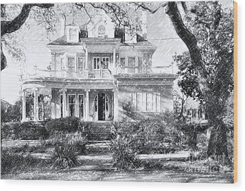 Anthemion At 4631 St Charles Ave. New Orleans Sketch Wood Print