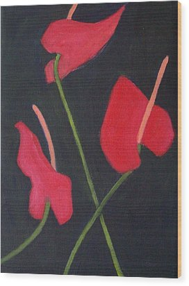 Anthuriums Wood Print by Mary Adam