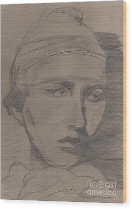Wood Print featuring the drawing Antigone By Jrr by First Star Art