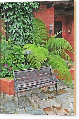 Antigua Bench Wood Print by Maria Huntley
