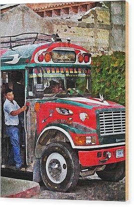 Antigua Bus Stop Wood Print by Maria Huntley