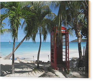 Antigua - Phone Booth Wood Print by HEVi FineArt