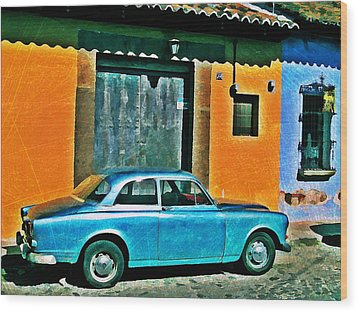 Antigua Volvo Wood Print by Maria Huntley