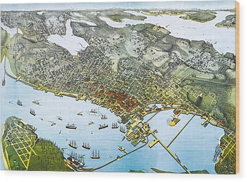 Antique 1891 Seattle Map Wood Print by Dan Sproul